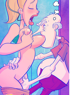 Busty ponytailed chick allows an old guy eating out - Picture 2