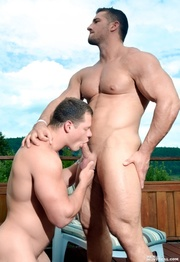 two beefy guys check