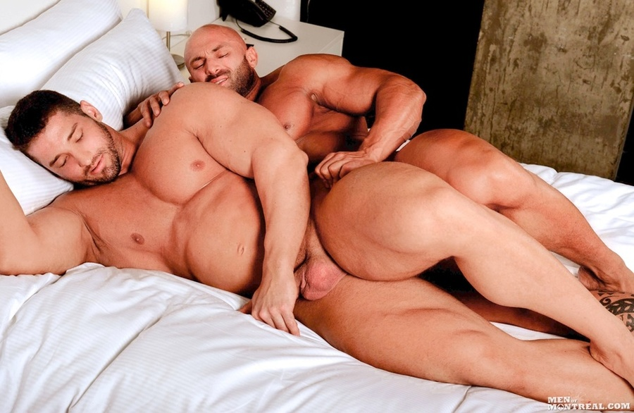 Beefy hunks enjoying jaw fest at hotel suite 10