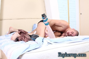 Horny guy flies at a teeny in white stoc - XXX Dessert - Picture 4