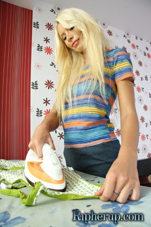 Nasty blondie Anna getting all her cloth - XXX Dessert - Picture 1