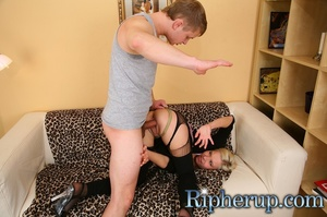 Blonde slut getting her leggings torn an - XXX Dessert - Picture 7