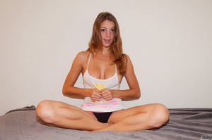 Long-haired ginger teeny posing on her b - XXX Dessert - Picture 4