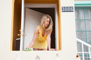 Blonde hot teen babe in a yellow dress t - XXX Dessert - Picture 1