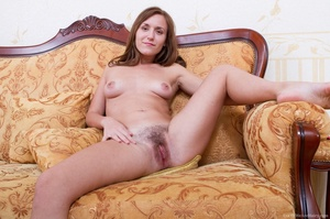 Sexy young babe on couch strips off erot - XXX Dessert - Picture 7