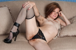 Cute red head in fishnet stockings strip - XXX Dessert - Picture 8
