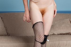 Cute red head in fishnet stockings strip - XXX Dessert - Picture 10