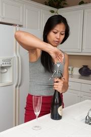 lady enjoys glass wine