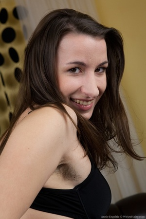 Cute brunette has fun on bed going nude  - XXX Dessert - Picture 3