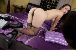 Cute brunette has fun on bed going nude  - XXX Dessert - Picture 6