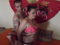 1boy_1girl, couple live sex, striptease, tattoo