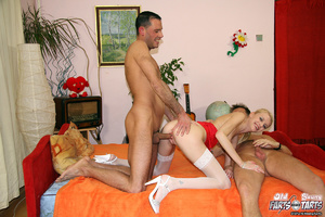 Two horny senior chaps shagging a skinny - XXX Dessert - Picture 8
