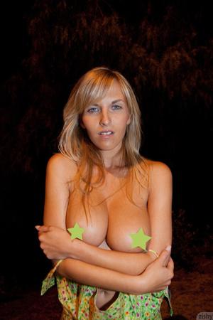Sexy blonde Czech vixen exposing her hug - XXX Dessert - Picture 1