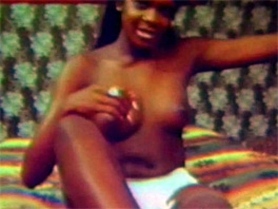 ebony home masturbating - A naked vintage ebony sweetie masturbates in the sixties
