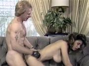 Very horny retro mustache man jizzing on her big titties