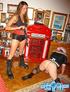 Gorgeous bitch gets two men to become crossdressers and punishes them