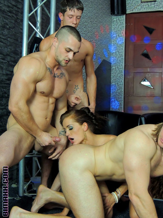 strap-on chick submits boys