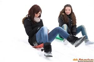 Sweet lesbian girls love scissoring - XXX Dessert - Picture 1