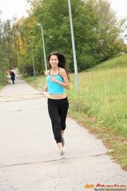 sporty young girl enjoys