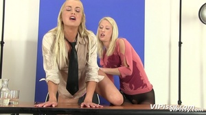 Two blondes have fun spraying warm piss on each other and drinking piss from glass - XXXonXXX - Pic 7