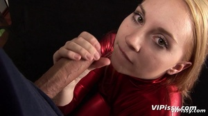 Young cute blonde opens mouth for guy to piss in it as she sucks dripping cock - XXXonXXX - Pic 14