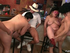 Three horny fat girls in fancy hats and glasses give - Picture 11