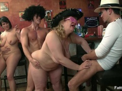Three horny fat girls in fancy hats and glasses give - Picture 13