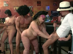 Naughty fat chick takes on two horny guys sucking cock - Picture 10