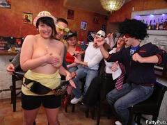 Fun loving fat girls go wild in hot BBW action sucking - Picture 5