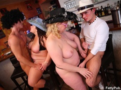 Three guys happy to suck fat tits and fuck sweet fat - Picture 4
