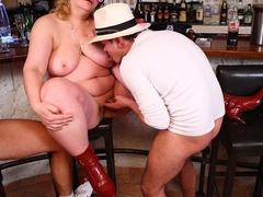 Three guys happy to suck fat tits and fuck sweet fat - Picture 8