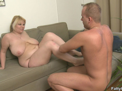 Fat blonde chick is crazy for hard cock and sucks it - Picture 9