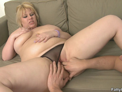 Fat blonde chick is crazy for hard cock and sucks it - Picture 11