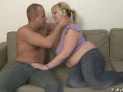Fat chick engages guy in big tits licking and cock - Picture 3