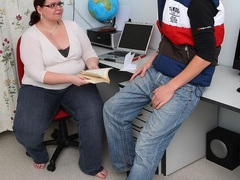 Fat teacher gets task to fuck student and she sucks cock - Picture 3