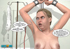 Pervert doctor watching his topless patient in jeans getting pregnant