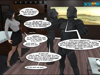 Two big security men in black uniform handling hot - Picture 3