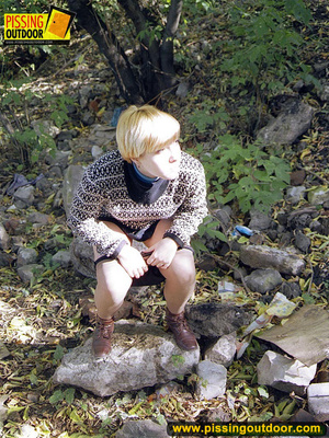 Cute short hair blonde bends down to take a piss out in the woods in early autumn - XXXonXXX - Pic 4