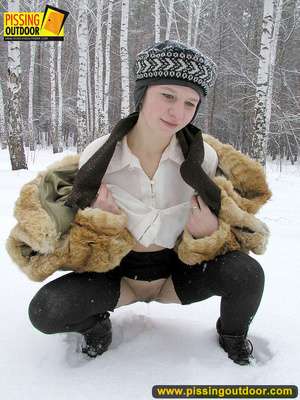 Cute white teen in fur coat, shirt and pantyhose takes an piss in the snow - XXXonXXX - Pic 11