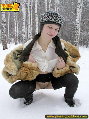 Cute white teen in fur coat, shirt and pantyhose takes an piss in the snow - XXXonXXX - Pic 13