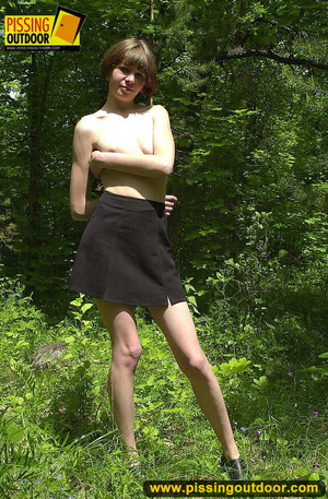 Teen with cute small tits take off her clothes to stand and piss in the woods - XXXonXXX - Pic 3