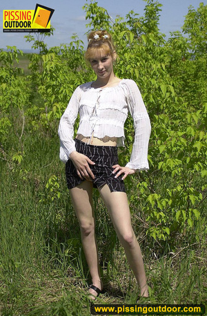 Young cute blonde enjoying a stroll in the woods goes nude to spread legs and pee - XXXonXXX - Pic 4