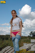 hot chick strips jeans