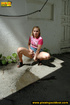 Naughty girl pissing right outside by house after not being able to get