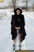 lady black coat and