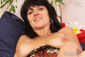 Black hair mom show cute small tits, wide pussy and plays with long slim dildo - XXXonXXX - Pic 1