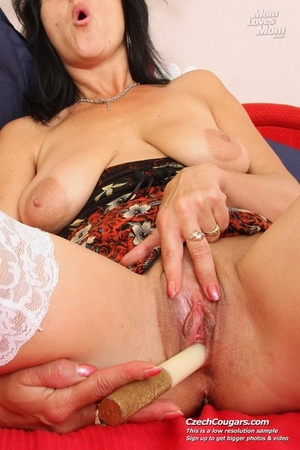 Black hair mom show cute small tits, wide pussy and plays with long slim dildo - XXXonXXX - Pic 2