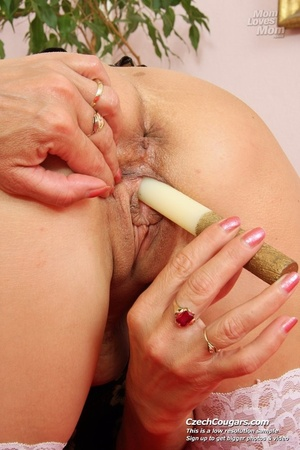 Black hair mom show cute small tits, wide pussy and plays with long slim dildo - XXXonXXX - Pic 13