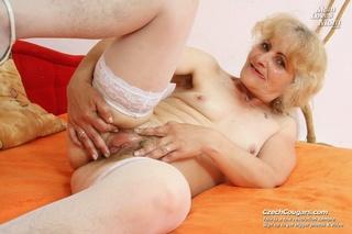 naughty blonde grandma shows