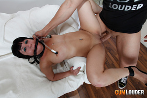 Busty brunette gangbanged hard by two du - XXX Dessert - Picture 7